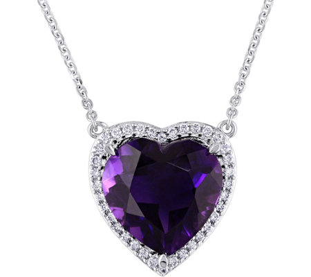 14K 5.35 ct Amethyst & 1/6 cttw Diamond Heart Halo Necklace