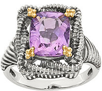 Sterling & 14K Cushion Gemstone Ring - J378196