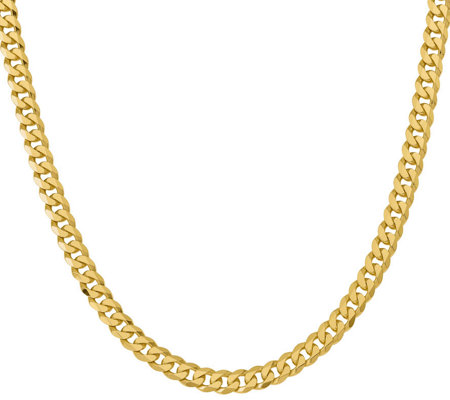 "14K Gold Flat Beveled 22"" Curb Necklace, 72.1g"
