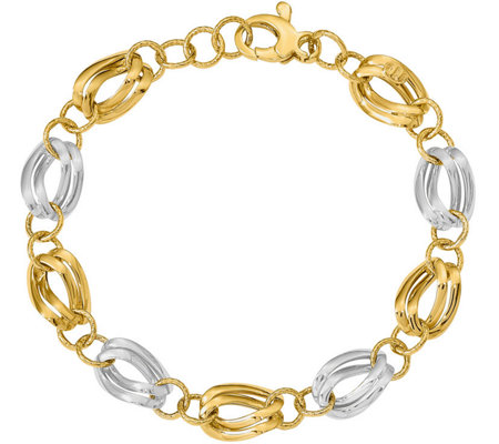 14K Two-Tone Double Oval & Round Link Bracelet,5.1g