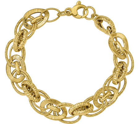 14K Polished & Diamond-Cut Interlocking Bracelet, 7.5g