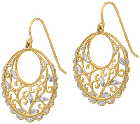 14K Two-Tone Vine Cutout Dangle Earrings