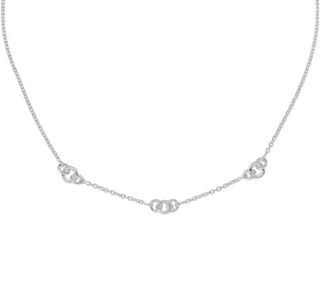 Sterling Circle Station Cable Link Necklace bySilver Style