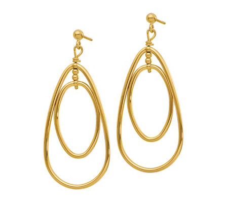 Italian Gold Teardrop Dangle Earrings, 14K