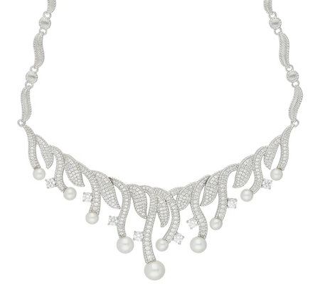 Judith Ripka Sterling 5.30 cttw Diamonique Pearl Necklace