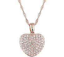Affinity 14K Rose Gold 1/2 cttw Diamond Heart Pendant w/ Chain - J383696
