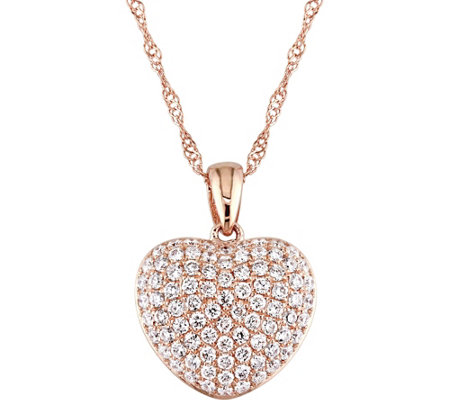Affinity 14k rose gold 12 cttw diamond heart pendant w chain qvc affinity 14k rose gold 12 cttw diamond heart pendant w chain mozeypictures Choice Image