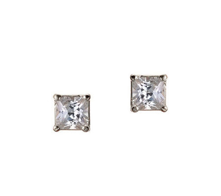 Diamonique 0.75 ct tw Princess Stud Earrings, 14K Gold