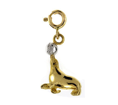 14K Gold Two-tone Seal Charm