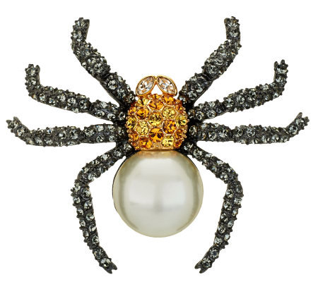 Joan Rivers Pave' and Simulated Pearl Spider Pin