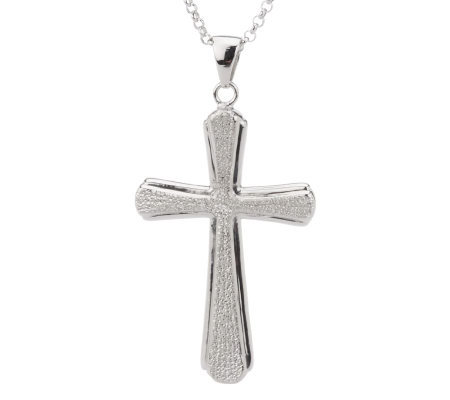 "Sterling Reversible Cross Pendant with 18"" Chain"