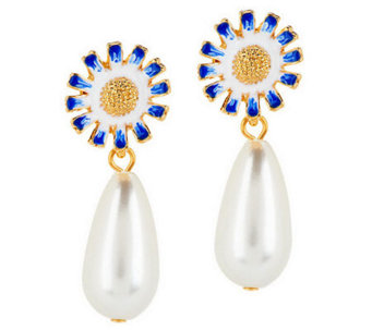 Kenneth Jay Lane's Flower Simulated Pearl Drop Earrings - J277397