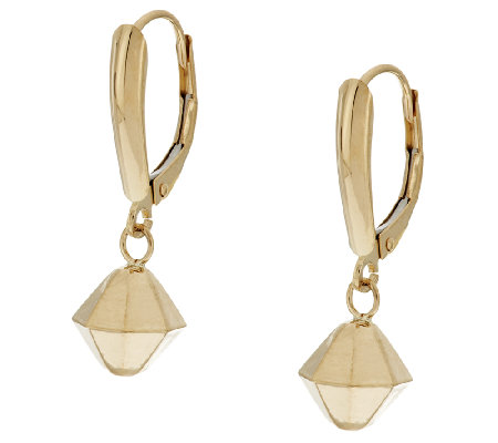 EternaGold Diamond Shape Drop Lever Back Earrings, 14K
