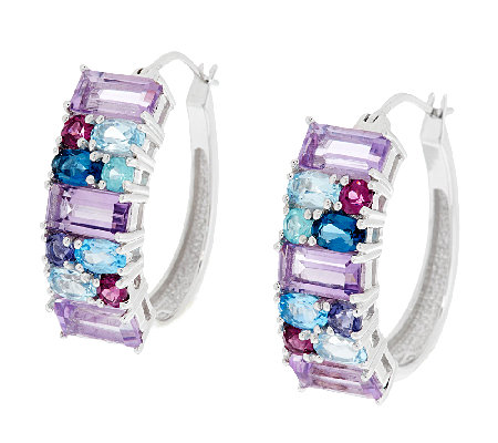 6.50 ct tw Multi-Gemstone Sterling Hoop Earrings