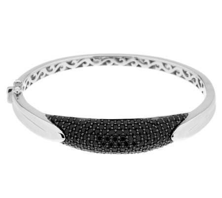 """As Is"" 3.70 ct tw Black Spinel Pave' Sterling Bangle Braceelt, 15.0g"