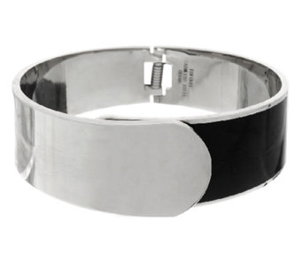 Stainless Steel Hinged Foldover Bangle with Enamel - J292797