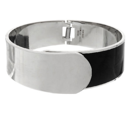 Stainless Steel Hinged Foldover Bangle with Enamel
