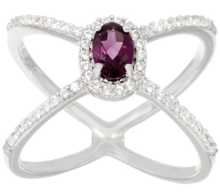 Graziela Gems Gemstone & White Zircon X-Design Sterling Ring