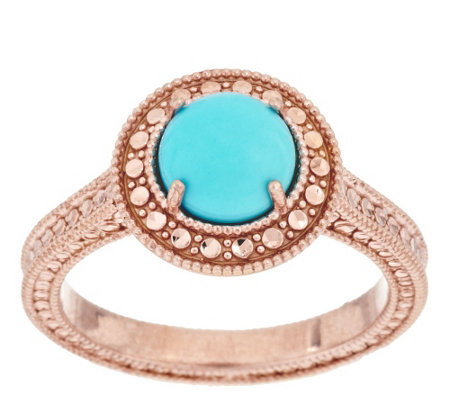 Sleeping Beauty Turquoise Diamond Cut Sterling Ring