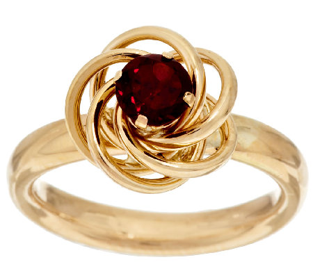 14K Gold Faceted Gemstone Love Knot Ring