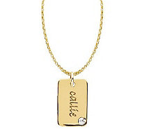 Posh Mommy 18K Gold-Plated Mini Dog Tag SimBirthstone Necklac - J300097