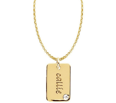 Posh Mommy 18K Gold-Plated Mini Dog Tag SimBirthstone Necklac