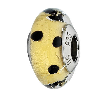 Prerogatives Gold and Black Dots Italian MuranoGlass Bead