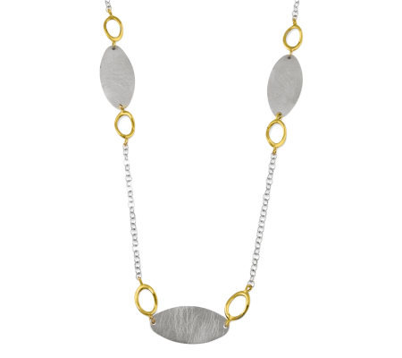 Sterling & Goldtone Oval Flat Disc Necklace