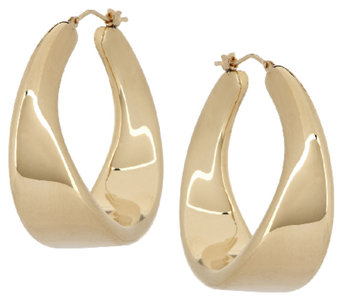"""As Is"" Oro Nuovo 1-1/2"" Twist Design Hoop Earrings - J317897"