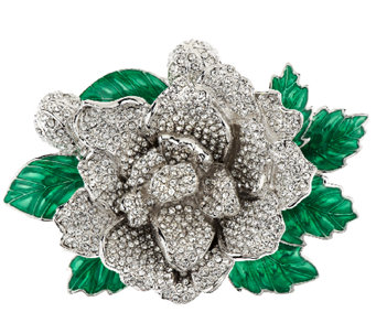 Joan Rivers Jeweled Blossoms Pave' Gardenia Pin - J318697