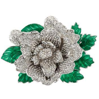 Joan Rivers Jeweled Blossoms Pave' Gardenia Pin
