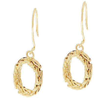 14K Gold Polished Byzantine Link Dangle Earrings