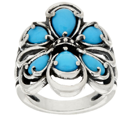Carolyn Pollack Sterling Silver Sleeping Beauty Turquoise Cluster Ring
