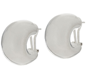 """As Is"" UltraFine Silver 7/8"" Bold Omega Hoop Earrings - J319597"