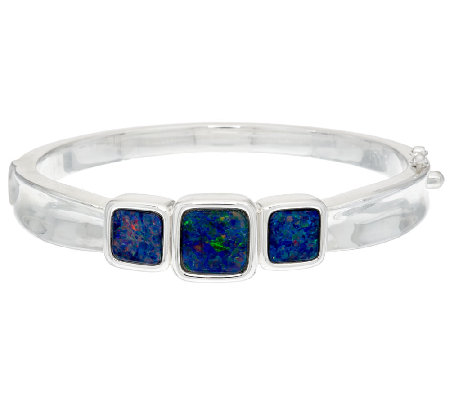Opal Triplet Sterling Silver Hinged Bangle