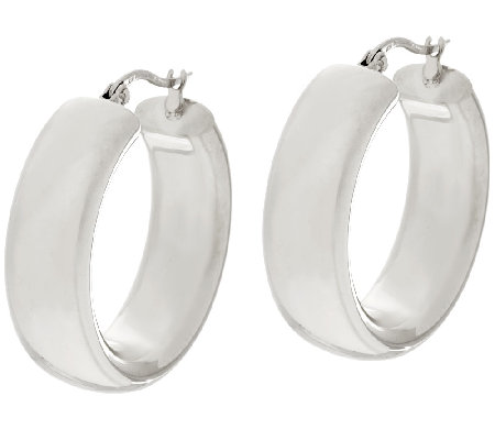Stainless Steel Polished Round Hoop Earrings Steel by Design
