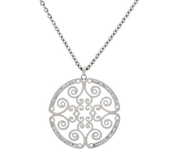 "Stainless Steel 18"" Cut-out Round Medallion Necklace - J322297"