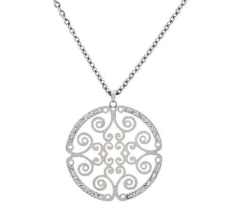 "Stainless Steel 18"" Cut-out Round Medallion Necklace"