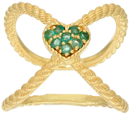 Judith Ripka Sterling & 14K Clad Emerald Heart X Ring