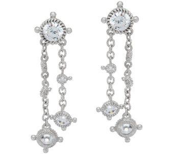 Judith Ripka Sterling 118 Facet Diamonique Drop Earrings - J323197