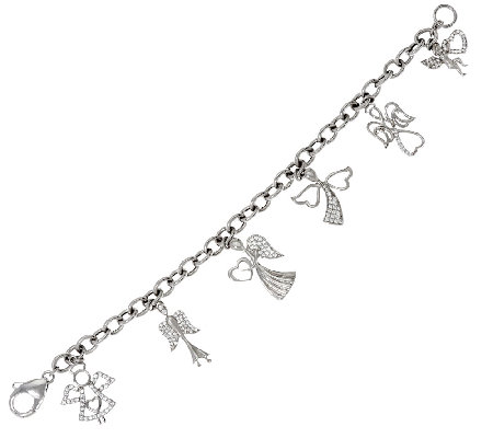 "Diamonique 1.20 cttw Angel Charm 6-3/4"" Bracelet Sterling"