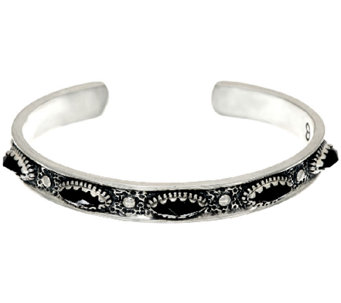 Jennifer Nettles Sterling Silver Black Spinel Textured Cuff - J324097