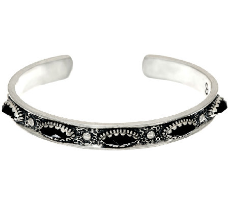 Jennifer Nettles Sterling Silver Black Spinel Textured Cuff