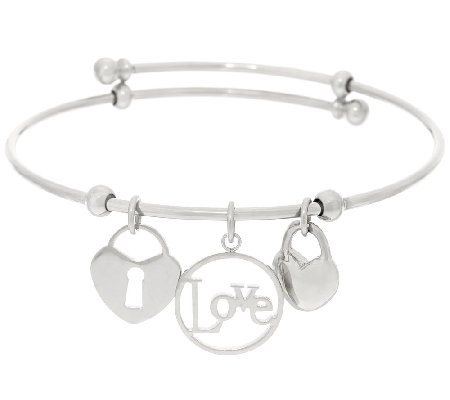 Stainless Steel Love Charm Expandable Bangle Bracelet