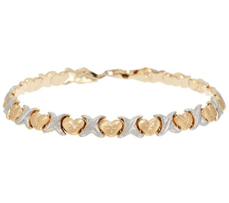 "14K Gold 6-3/4"" Polished & Satin Finish Stampato Bracelet, 4.6g"