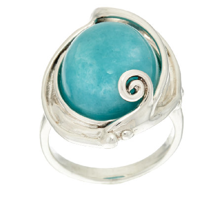 """As Is"" Hagit Sterling Silver Amazonite Cabochon Scroll Ring"