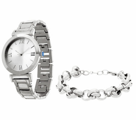 Stainless Steel Watch Set with Bracelet, Boxed
