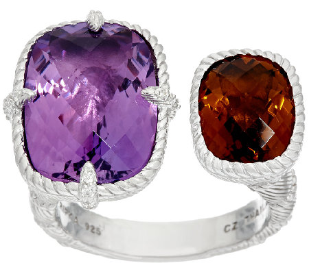 Judith Ripka Sterling 12.0 cttw Gemstone Cuff Ring