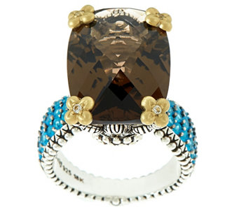 """As Is"" Barbara Bixby Sterling & 18K 15.90 ct tw Smoky Quartz & Apatite Ring - J327097"