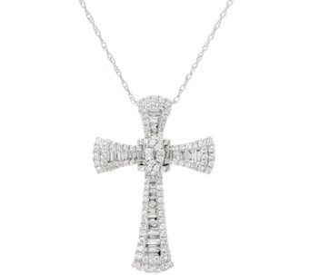 Baguette & Round Diamond Cross Pendant, 14K, 3/4 cttw, by Affinity - J329697